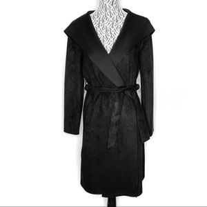 Zara faux suede black hooded light wrap coat XS